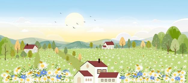 Paisajes de campo de granja de dibujos animados lindo en otoño con abejas recogiendo polen en flores.