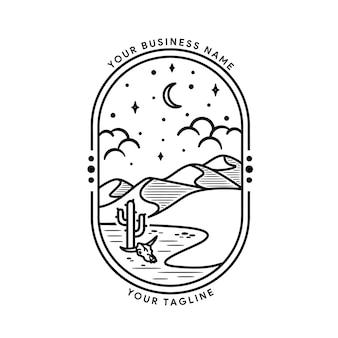 Paisajes desérticos de arte lineal, cactus y dunas, viaje de aventura al aire libre en estilo de línea de ballena