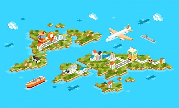 Paisajes isométricos con aeropuerto, avión, edificio, barco, marina. conjunto de aeropuerto de paisaje en la isla. 3d isométrica de navegación gps en el aeropuerto -