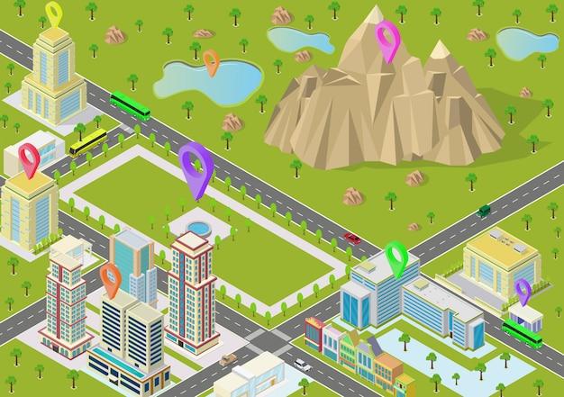 Paisajes isométricos con edificios de la ciudad y montaña.