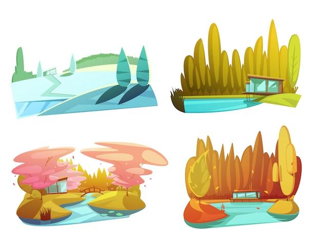 Paisajes naturales 4 dibujos de temporada de composición cuadrada con invierno verano otoño.