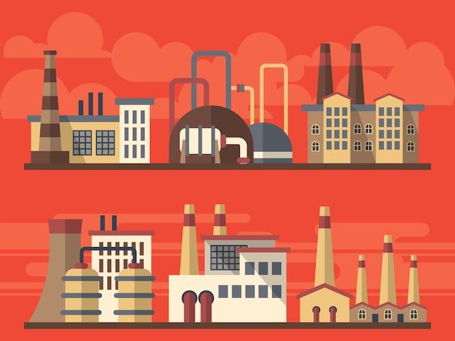 Paisajes planos industriales de la fábrica en fondo brillante
