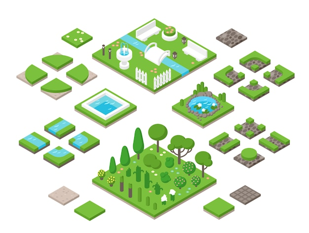 Paisajismo elementos de diseño de jardín 3d isométricos