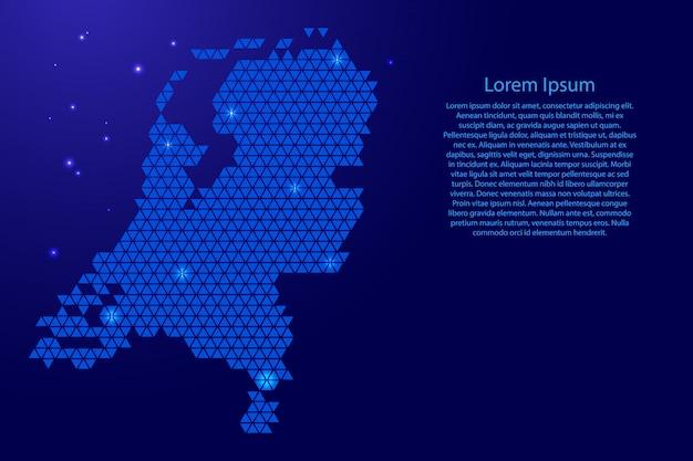Países bajos mapa resumen esquemático de triángulos azules que se repiten geométricos con nodos y estrellas espaciales para pancarta, póster, tarjeta de felicitación. .
