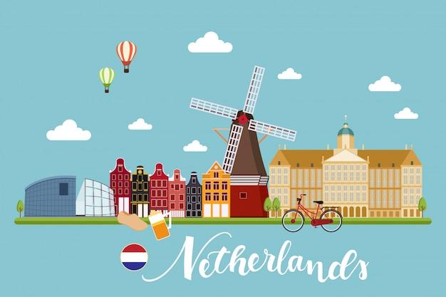 Países bajos viajes paisajes ilustración vectorial