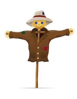 Paja de espantapájaros en una ilustración de vector de abrigo y sombrero