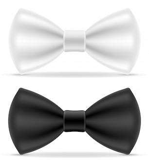 Pajarita negra y blanca para hombre traje.