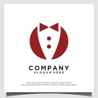 Pajarita traje de esmoquin caballero moda ropa de sastre diseño de logotipo clásico vintage