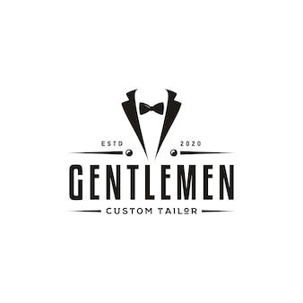 Pajarita traje de esmoquin caballero moda sastre ropa vintage clásico diseño de logotipo