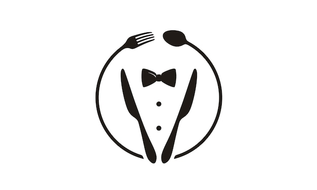 Pajarita, tuxedo, utensil restaurant logo