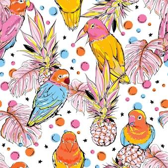 Pájaro de bosquejo de mano colorido con piñas de frutas de verano y hojas tropicales de patrones sin fisuras