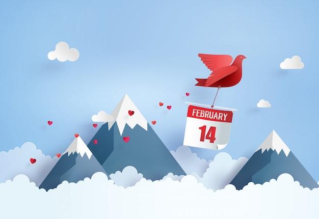 Pájaro con calendario 14 de febrero, volando en el cielo azul sobre la montaña con nubes.