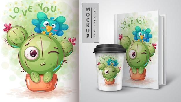 Pájaro, cartel de cactus y merchandising