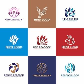 Pájaro, colección de diseño de logotipo de pavo real.