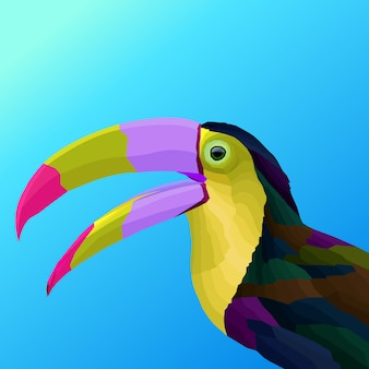 Pájaro colorido arte pop