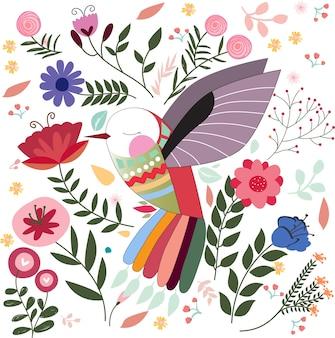 Pájaro colorido en flor
