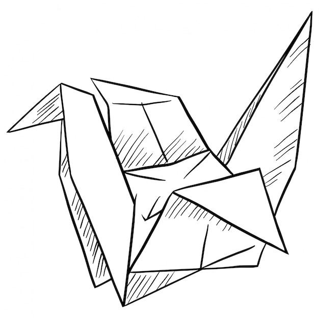 Pájaro de papel en el fondo blanco