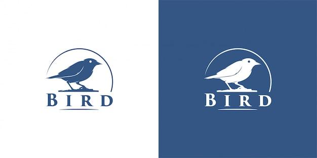 Pájaro diseño emblema, vintage, sello, insignia, plantilla de vector logo