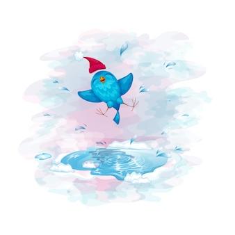 Un pájaro divertido en un gorro divertido saltando en un charco.