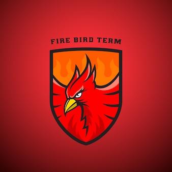 Pájaro en un emblema de escudo o plantilla de logotipo. ilustración de phoenix de fuego.