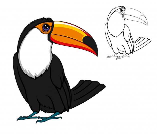 Pájaro exótico tucán tropical, animal de dibujos animados
