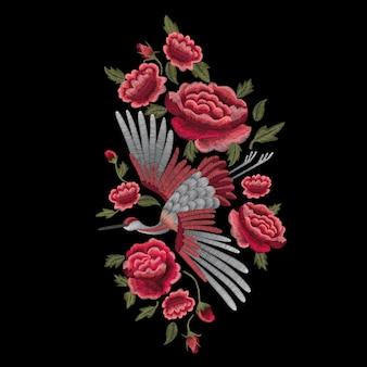 Pájaro grúa, flores, rosa, rosa mosqueta, planta.