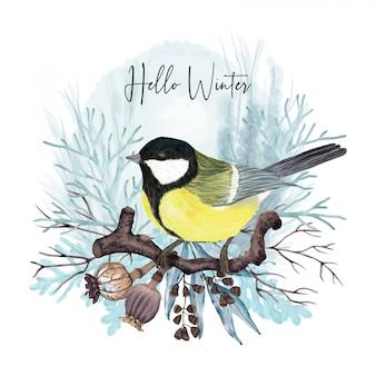 Pájaro de invierno en rama