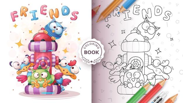 Pájaro lindo amigos - página para colorear