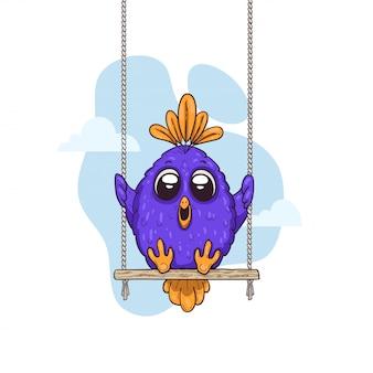 Pájaro lindo de dibujos animados en un columpio