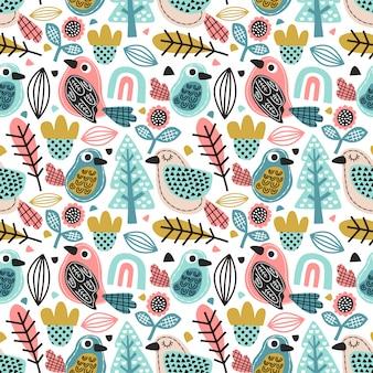 Pájaro lindo doodle de patrones sin fisuras con follaje y flor