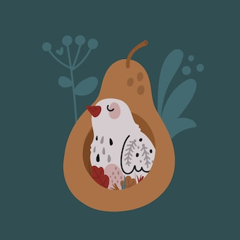 Pájaro lindo en el nido