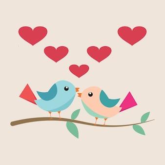 Pájaro lindo en vector de amor