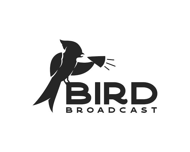 Pájaro con logotipo de megáfono plantilla de diseño de logotipo de transmisión de aves
