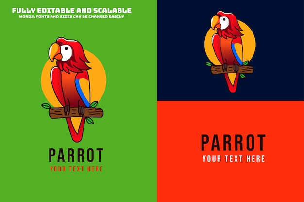 Pájaro loro moderno y simple con ilustración de logotipo de color rojo