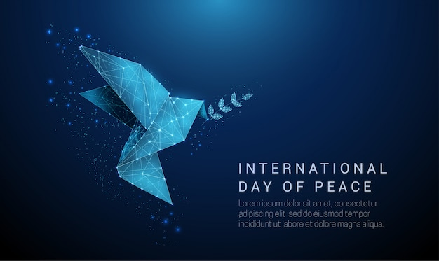 Pájaro de origami de papel abstracto con rama de olivo. concepto del día internacional de la paz. diseño de estilo de baja poli fondo geométrico. estructura de conexión de luz