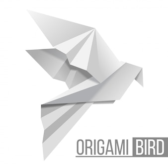 Pájaro de papel origami. figura voladora de paloma sobre fondo blanco. forma poligonal.