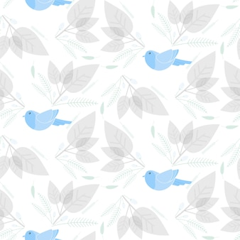 Pájaro con patrón floral y hoja transparente