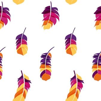 Pájaro pluma dibujado mano patrones sin fisuras fondo illus