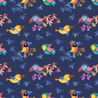 Pájaro en rama con flores y hojas de patrones sin fisuras
