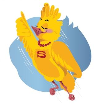 El pájaro superman vuela. ilustración vectorial
