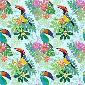 Pájaro tucán con flores tropicales de patrones sin fisuras.