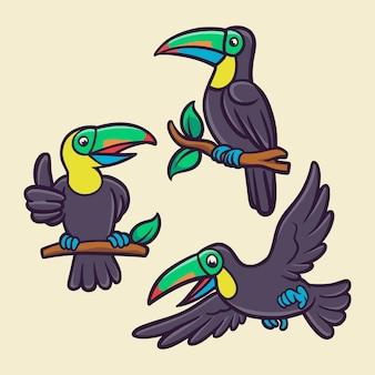 El pájaro tucán está volando y posado en un paquete de ilustración de mascota con logotipo de animal de tronco de árbol