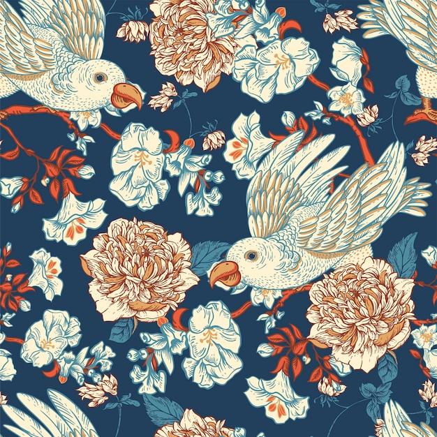 Pájaro del vector de la vendimia con el modelo inconsútil de las flores. ilustración floral natural, textura floral floreciente. fondo azul botánico de regency core.