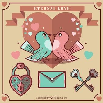 Pájaros adorables con elementos de valentín