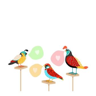 Pájaros de la canción con burbujas de discurso