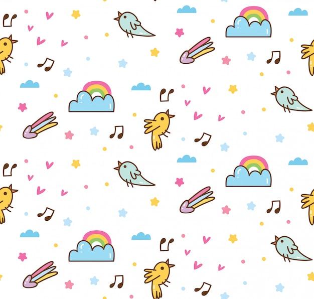 Los pájaros cantan en el patrón kawaii del cielo
