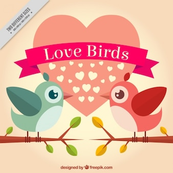 Pájaros enamorados con corazón de fondo