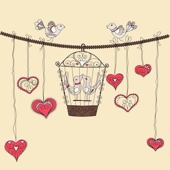 Pájaros enamorados. ilustración vectorial