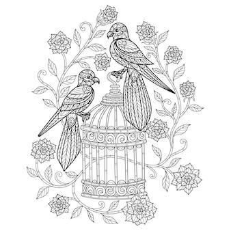 Pájaros y flores. ilustración de boceto dibujado a mano para libro de colorear para adultos.