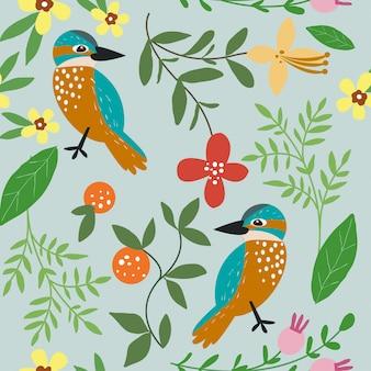 Pájaros y hojas sobre fondo azul